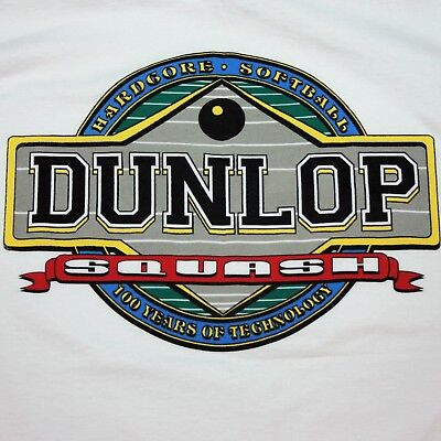 VTG 1989 Large Dunlop Squash White Cotton T Shirt Hardcore Softball 100 years