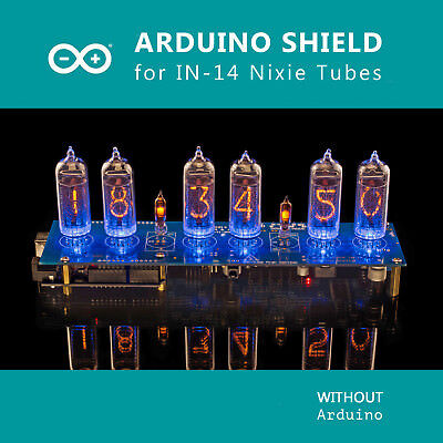 Nixie Tubes Clock IN-14 Arduino Shield NCS314, Remote, GPS, Temp. [WITH TUBES]