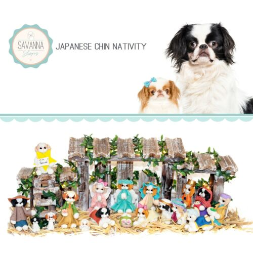 SAVANNASHOPS Dog Nativity Japanese Chin Gifts - Nativity Sets - Dog Lover Gifts