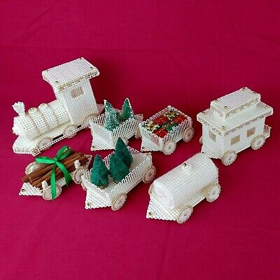 Needlepoint 3D Train Set Finished Handmade XMAS Village Trees Gifts Beads White