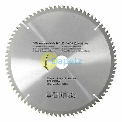 250mm 80t Aluminium Circular Saw Blade 30mm Bore 25mm 20mm 16mm Rings Mitre 10