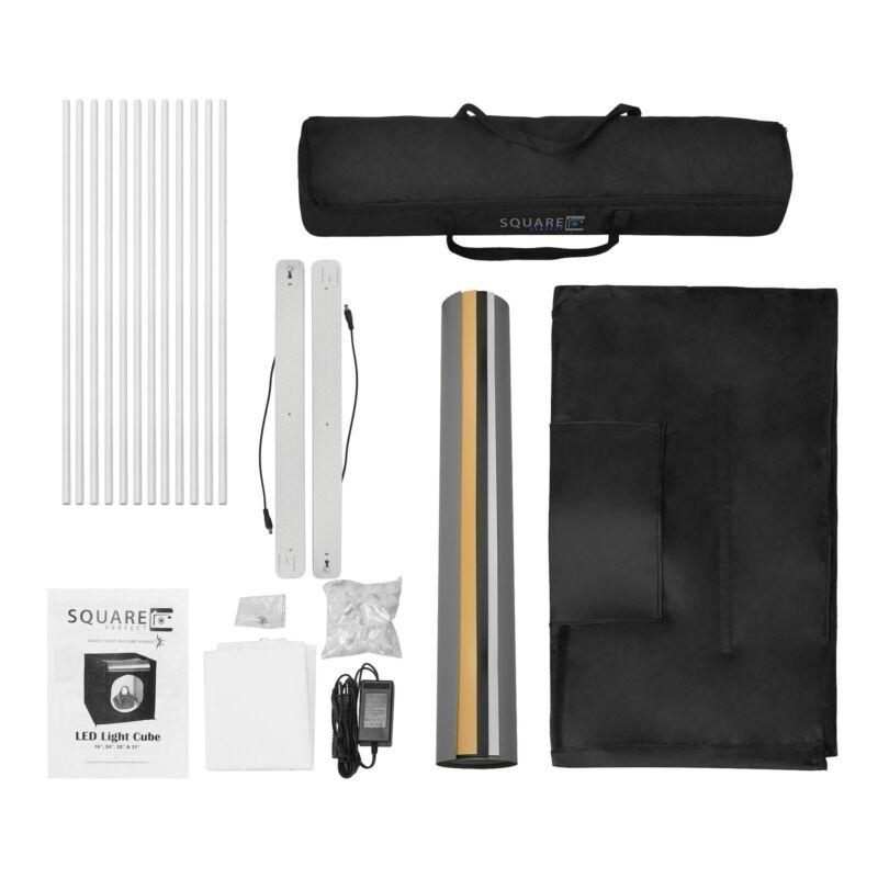 Square Perfect 31 Inch LED Photo Studio In A Box w/4 Color Backdrops Pro Quality