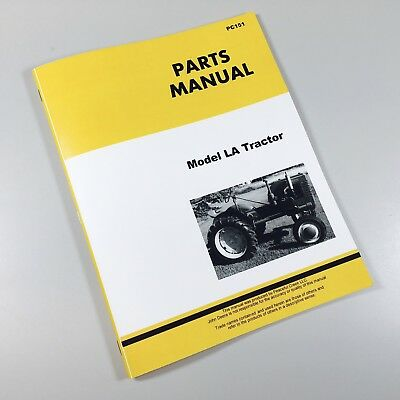 Parts Manual For John Deere Model La Series Tractors Catalog Exploded Views