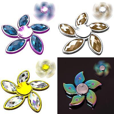 Rhinestone Bauhinia Flower Fidget Hand Spinner Finger Gyro Edc Focus Toy Great
