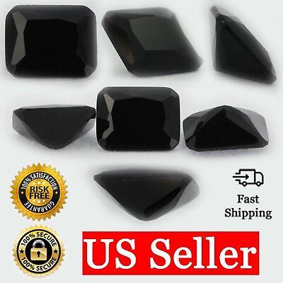 Loose Emerald Cut Black Onyx CZ Stone Single Cubic Zirconia Birthstone Shape