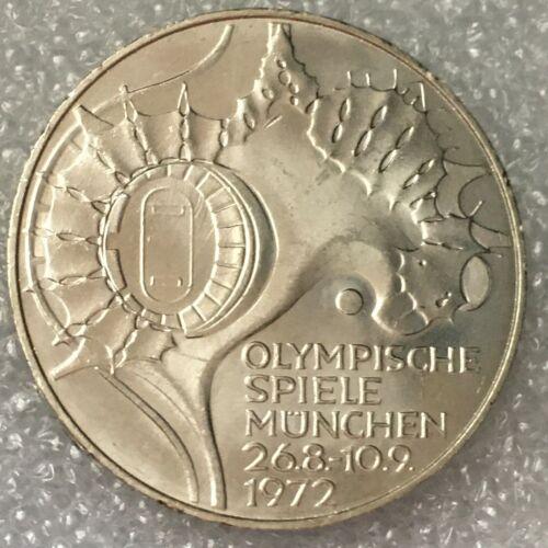 "1972 D Germany  🇩🇪 SILVER 10 DEUTSCHE MARK COIN ""Olympic Games in MUNICH"" aUNC"