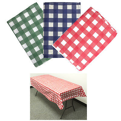 3 PACK FLANNEL VINYL TABLECLOTH Reusable Picnic Parks Party Oblong 72