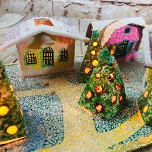 Vtg Mini Glitter Putz houses Christmas Village cardboard super cute & Rare!