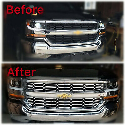 2016-18 Chevy Silverado 1500 CHROME Snap On Grille Overlay Grill Covers Inserts