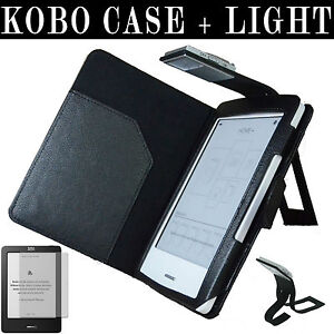 KOBO TOUCH LEATHER CASE COVER + SLIM READING LIGHT LIGHTED + SCREEN PROTECTOR