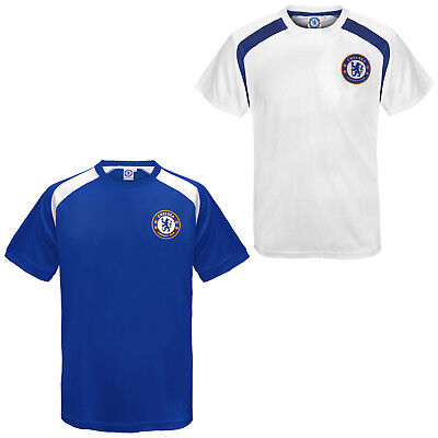 Chelsea FC Official Football Gift Boys Poly Training Kit T-Shirt Blue White df7f06606