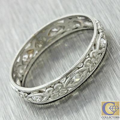 1920s Antique Art Deco Solid Platinum .14ctw Diamond Filigree Band Ring