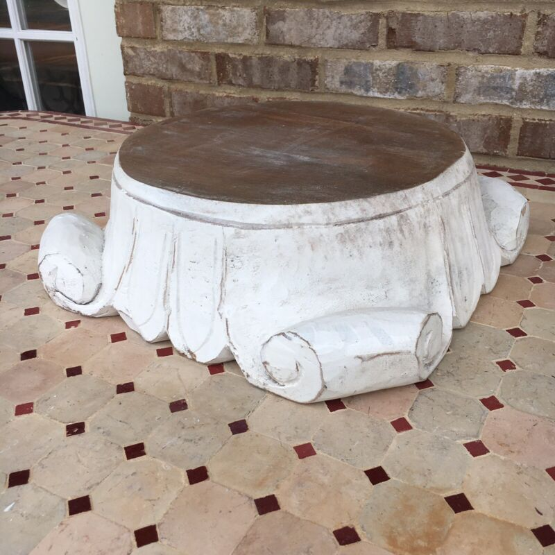 Large Carved Wooden Corinthian Pediment Stand Display Capital Pedestal Statue