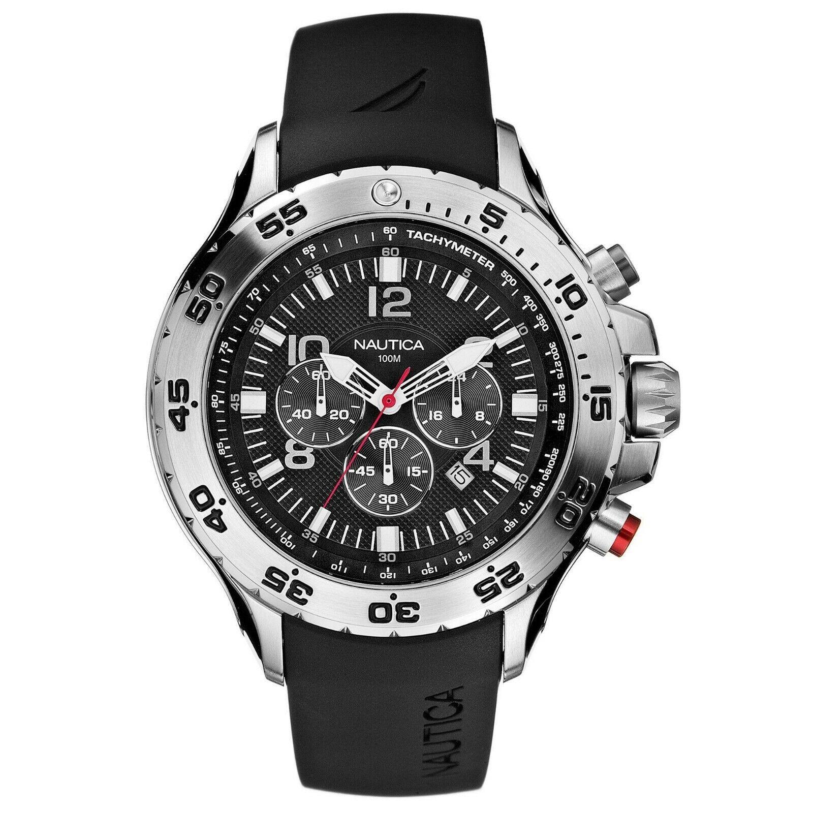 Nautica NST Chronograph Black Rubber Strap Mens Watch N14536G