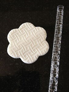 Texture embossing acrylic Rolling Pin No. 24 Basket Weave for sugar craft