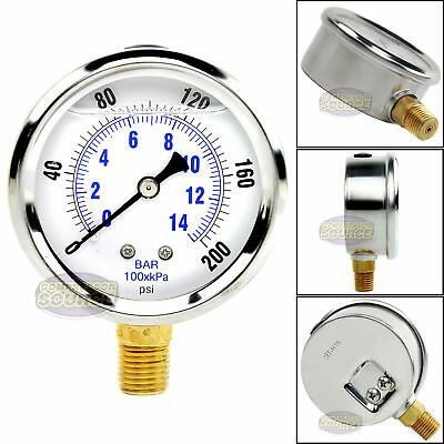 Quality Liquid Filled 2.5 200 Psi Air Pressure Gauge Lower Mnt Side Mount