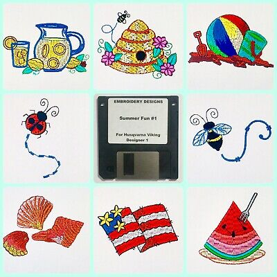 Summer Fun #1 Embroidery Designs Disk for Husqvarna Viking  Designer -