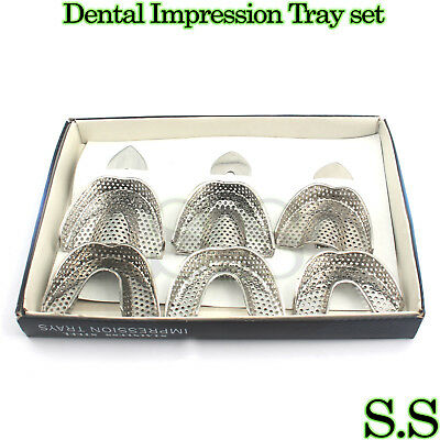 New Denture Perforated Stainless Steel Ortho Impression Trays Set Of 6pcs
