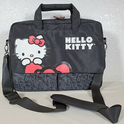 Hello Kitty Black Travel Laptop/Note Bag Case Crossbody Strap Fits up to 15.4