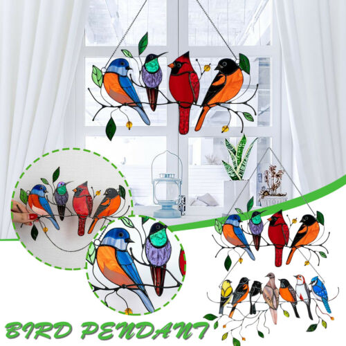 Multicolor Birds On A Wire High Stained Glass Suncatcher Window Panel Home Decor Home & Garden