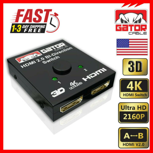 Bi-Direction 4K HDMI 2.0 Cable Switch Switcher Splitter HUB HDCP 2x1 1x2 In Out
