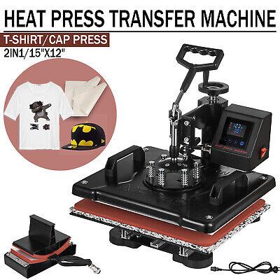 2in1 Heat Press Machine Swing Away Digital Sublimation T-shirt Hat Led Display