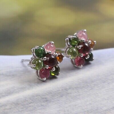 Watermelon Tourmaline Flower Dainty Cluster Earrings Stud 925 Sterling -
