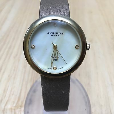Akribos XXIV Lady Diamond Dial Gold Tone Swiss Analog Quartz Watch Hour~New Batt