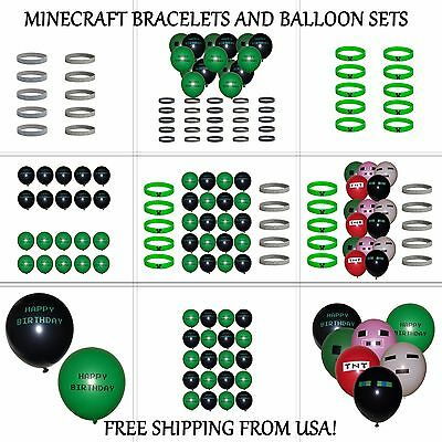 Minecraft Bracelets Creeper ~ Diamond and Happy Birthday Balloons, Party Favors - Balloons And Parties