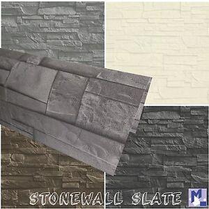 Carta da parati in tessuto non muro di pietra ardesia for Carta da parati effetto pietra 3d