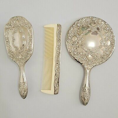 Victorian Wigs, Hair Pieces  | Victorian Hair Jewelry Vintage Hair Brush Comb & Mirror Silver Plate Embossed Vanity Set Victorian VTG $49.97 AT vintagedancer.com