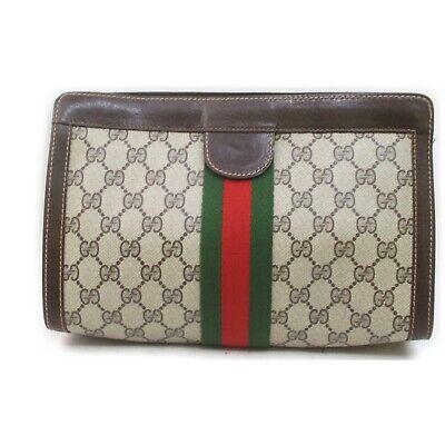 Vintage Gucci Clutch GG Sherry Browns PVC 1902486