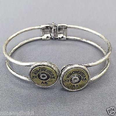 Antique Gold Spring Hinge Bracelet Shotgun Winchester 12 Gauge Fashion -