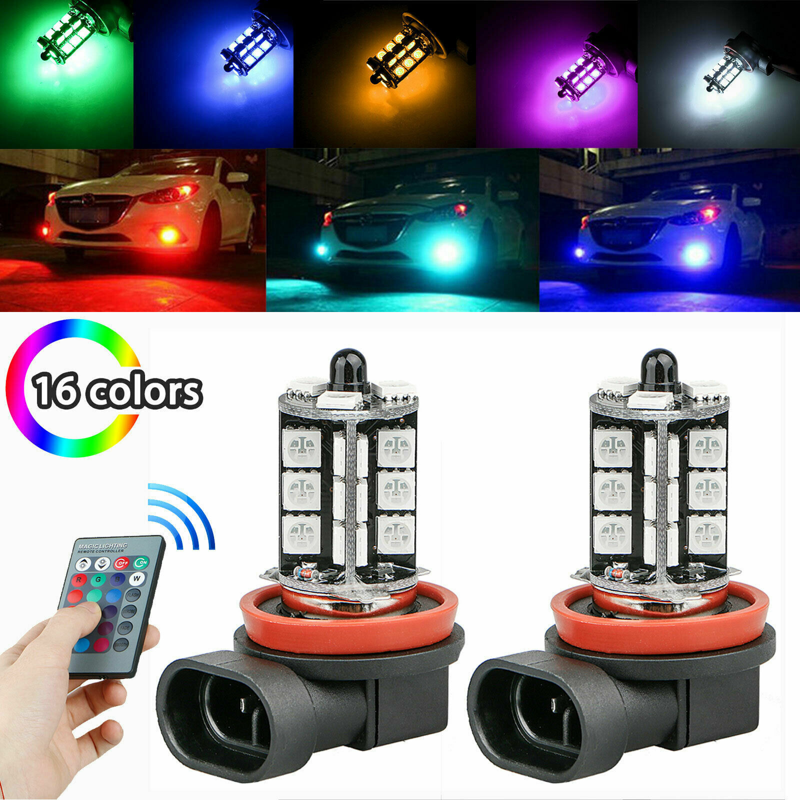 2pc H11 H9 H8 27SMD 5050 16Color RGB LED Fog Lights Driving Bulbs Lamp w/ Remote