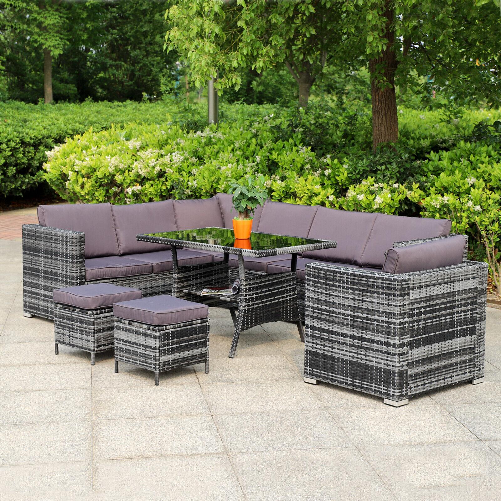 Garden Furniture - Grey Corner Rattan Dining Sofa Set Garden Patio 10 Seater Furniture Settee