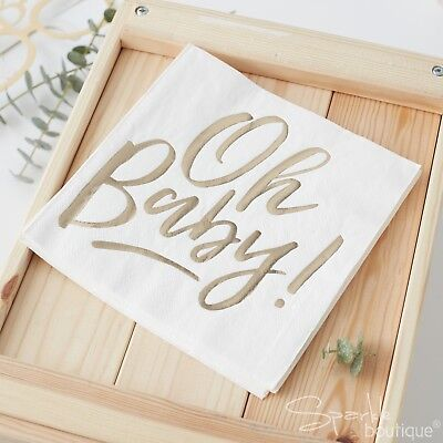 'OH BABY!' BABY SHOWER NAPKINS -White/Metallic Gold Lettering-FULL RANGE IN SHOP (Baby Shower Shop)