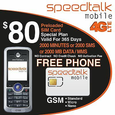 1 Year Prepaid Service 2000 Voice Minutes With Free Motorola C168i Phone