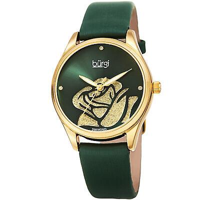 Women's Burgi BUR189BU Diamond Blue Sparkle Rose Satin over Leather Strap Watch