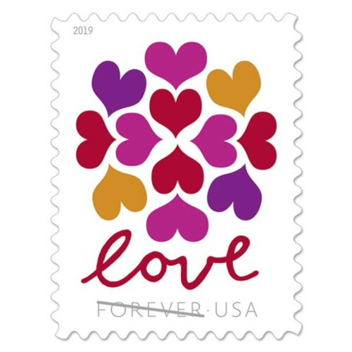 Roll of 200 USPS (10 Panes OF 20) Forever Postage Love Stamps Hearts Blossom#533