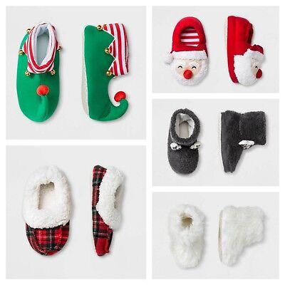 Kid and Toddler Slippers - Santa, Elf, Reindeer, Fuzzy, Plaid - Elf Reindeer