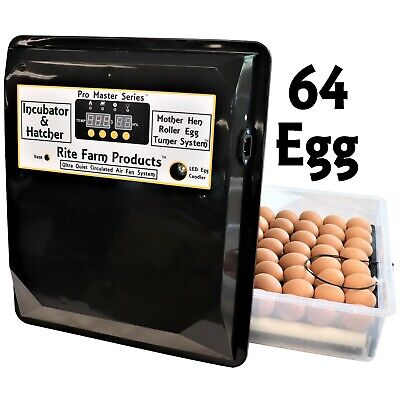 Rite Farm Products Pro Master Series 64 Chicken Egg Incubator Hatcher Turner