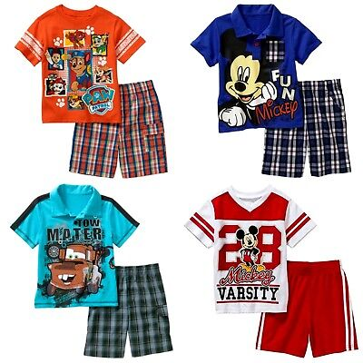 Boys' 2-Piece Shorts Set  Mickey Mouse Cars Mater Paw Patrol Chase Marshall  NWT