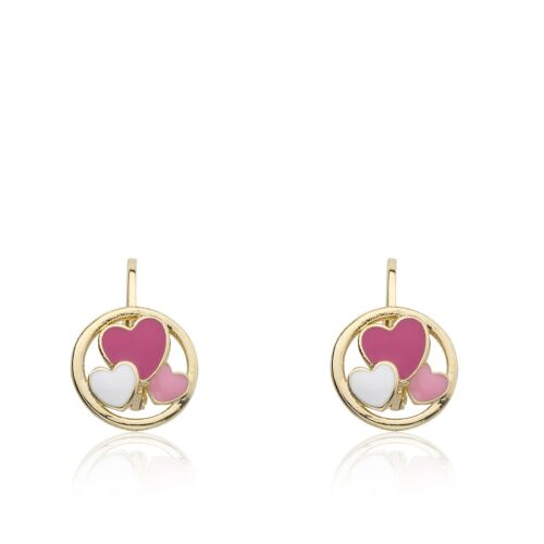 14K Gold Plated Leverback Earrings With Enamel Hearts Disc- Hypoallergenic