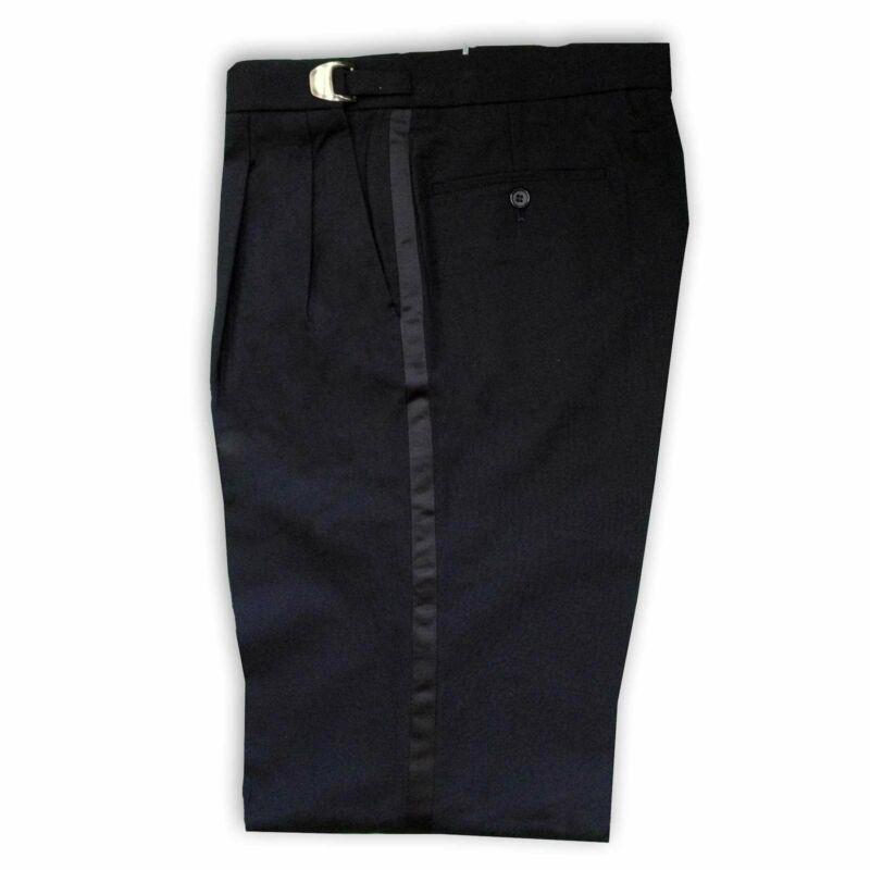 Mens Black Polyester Adjustable Tuxedo Pants