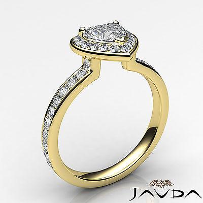 Halo Pave Set Heart Diamond Engagement Wedding Ring GIA H VS2 Yellow Gold 0.95Ct 1