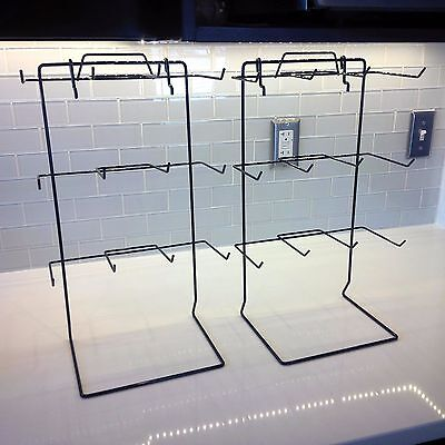 12 Single Peg Hook Counter Top Display Rack In Black 17.75 H X 10 W - Lot Of 2