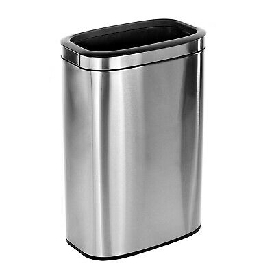 Alpine Industries 10.5 Gal. Stainless Steel Office Commercial Open Top Trash Can