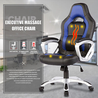 6 Point Racing Game Massage Office Chair Leather Ergonomic Computer Chair Blue