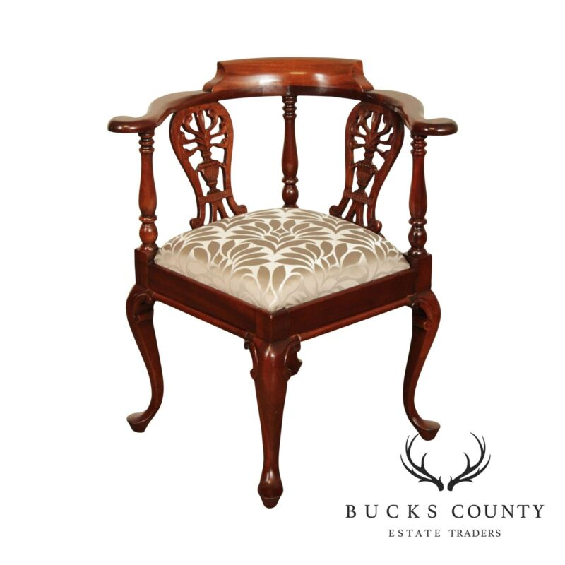 George II Style Carved Solid Mahogany Corner Chair