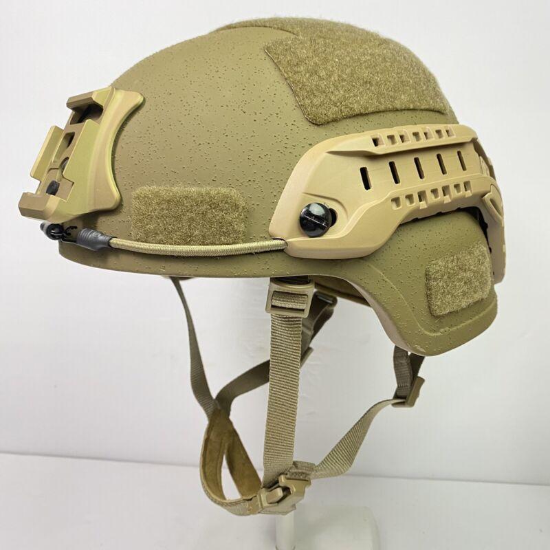 Large Gentex Enhanced Combat Ballistic Helmet ECH USMC Coyote Ceradyne 3M Rails
